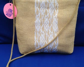 Burlap crossbody bag, messenger bag, natural burlap with lace, gifts for her