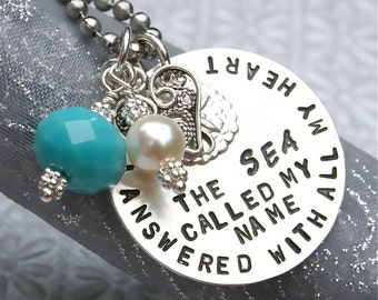 Sea/Beach/Nautical/Sea Glass/Sterling/Pearl necklace - The Sea Called My Name and I Answered with All My Heart/Sterling Necklace