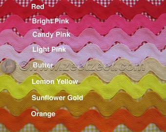 Discounted 10 Yards Choose Color - Giant RIC RAC Jumbo Sewing Trim 1.5-Inches Wide - Rick Rack - Volume Discount - Limited colors available