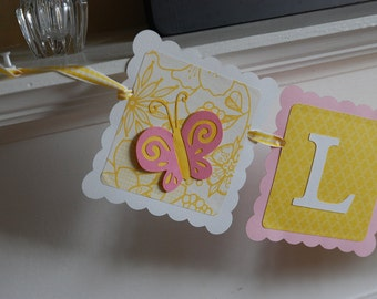 Name Banner, Butterfly Name Banner, Butterfly Party Supplies, Butterfly Nursery, Birthday, Decorations, Pink Yellow