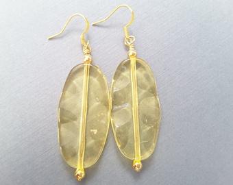 Yellow Wavy Leaves . Earrings