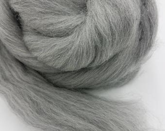 1 pound grey Merino combed top, 23 micron, roving, spinning fiber, felting fiber, fiber, spinning fiber, by the pound, wool, colored wool