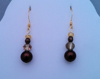 Copper Ceramic, Crystal and Glass Earrings