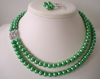 Two Strand Clover Green Pearl with Square Rhinestone Pendant Beaded Necklace and Earring Set    Great Brides or Bridesmaid Gifts