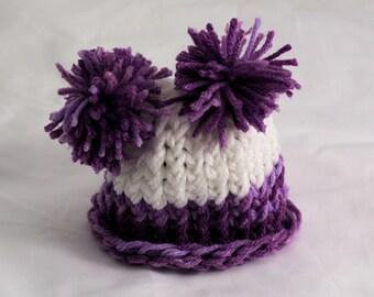 Knit pom pom pigtails hat