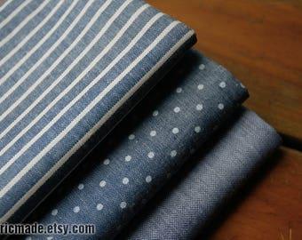 Vintage Denim Blue Cotton Fabric/ Yarn Dye Stripes Polka Dots Solid Blue White Fabric/- 1/2 Yard