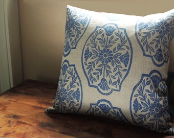 Ultramarine Blue Chinoiserie Floral hand block printed on natural gray brown linen home decor decorative pillow case your choice of sizes
