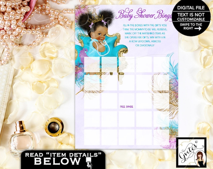 Baby Shower Bingo Card Printable Bingo girl, turquoise purple gold and silver shower game cards print. 5x7 2-Per Sheet