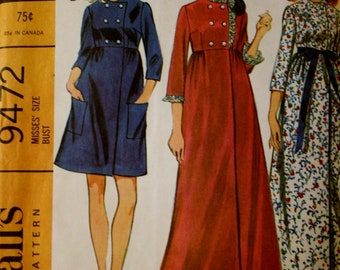 Vintage McCall's 9472 Empire Waist Robe Sewing Pattern Size 16 Bust 38