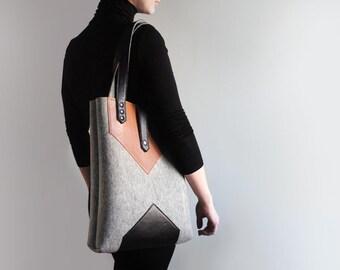 Gray Black Brown Wool Felt Genuine Leather Tote Bag