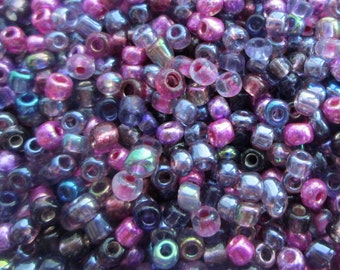 50g 8/0 Seed Bead Mix/Seed Beads, Amethyst/Pink/Purple - SKU 8 010  (only pay postage on the first item in an order)