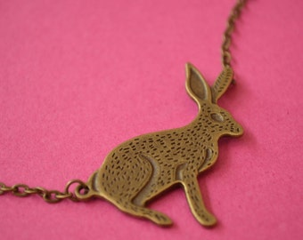 Hare Necklace Wicca Wiccan Pagan Gothic Samhain Antique Bronze (AB8)