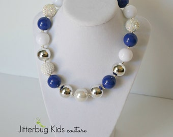 Chunky Necklace Kids - Dallas Cowboys Chunky Necklace - Football Necklace Girls - Cheer Leading Necklace - Dallas Cowboys - Blue and Silver