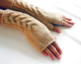 BEIGE Fingerless Gloves, Merino Wool Mittens, Arm Warmers with cable pattern, Hand Knitted, Eco Friendly