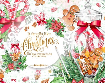 Christmas Clipart Xmas Graphics Watercolor Illustrations Handpainted Wreath Scrapbook Planner DIY Cute Gingerbread Cookies Candy Can Jar