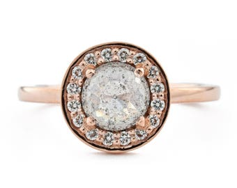 14K Rose Gold Halo Engagement Ring, Rose Cut Salt and Pepper Diamond Ring, 14K Rose Gold Gray Diamond Engagement Ring