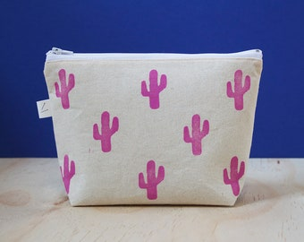 Pink Cactus cosmetic bag, pencil pouch, pencil case