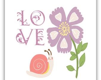 Nursery Printable Art, Love Print, Babys Room Decor, Nursery Wall Art, Cute Snail Print