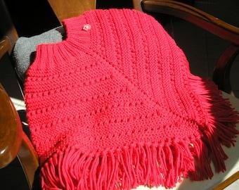 Knitted Poncho, Girls Medium - Red