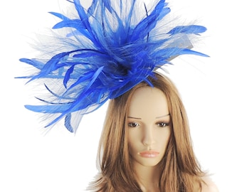 Royal Blue When Dog Bites Fascinator Hat for Kentucky Derby, Weddings and Christmas Parties on a Headband
