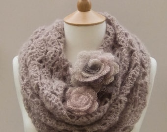CROCHET PATTERN instant download - Flower Gale Cowl - lilac purple gray creamy lace mohair rose neck warmer tutorial PDF