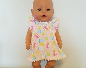 Baby Born Doll Clothes - Nursery Print Nightgown