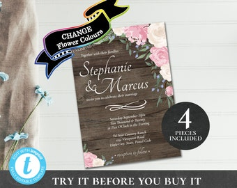 Wedding Invitation Suite EDITABLE PRINTABLE Set with Invite Rsvp Details Tag Rustic Florals Change Color pink blue purple blush cream PCRFWS