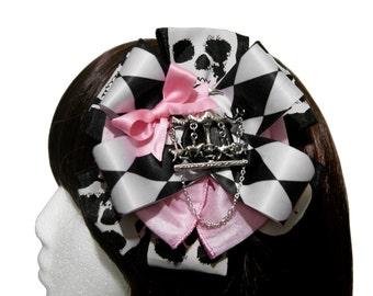 Dangerous Carousel Black and Pink Skull Hair Bow