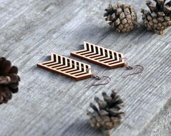 Chevron Laser Cut Wood Earrings