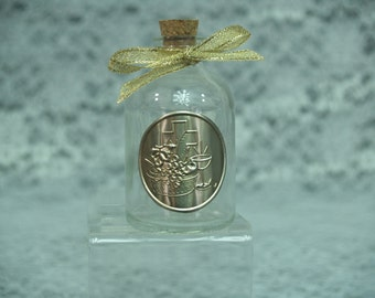 Communion or Confirmation Party Favors Holy Water glass bottles with gold aluminum repujado plaque 12 pieces