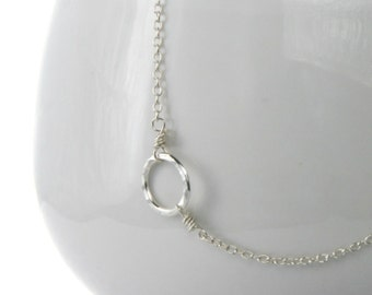 Hammered Circle Sterling Silver Necklace . Circle of Life