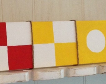 Nautical Maritime Flag Wood Sign, Nautical Family Name Sign, Nautical Flag Family Name Sign, Nautical Flag Destination Name Sign