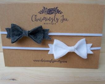 Grey and White Felt Bow Headband, felt bows, felt headband, newborn bow headband, newborn bows, toddler bow headband, adult bow headband