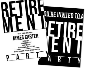 Modern Typography, Retirement Party Invitations