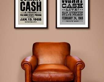 Johnny Cash poster, Johnny Cash art prints, music inspired print, Johnny Cash, typographic print, print set, Johnny Cash posters
