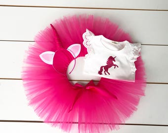 Hot Pink 3 Piece Unicorn Cake Smash Outfit - First Birthday Set