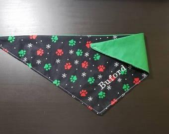 Holiday Pawprints Dog Bandana