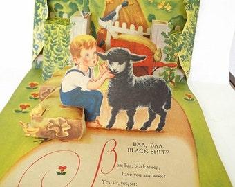 Vintage Antique Pop Up Story Book, 3D Card, Baa Baa Black Sheep, Geraldine Clyne, Fairy Tale, Nursery Rhyme, Pop Up Story Book, Antique Card