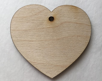 """25 Wood Hearts - 2.5"""" Unfinished Wooden Hearts - Heart Shaped Wood Cutouts with Hole"""