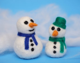 Needle Felting DIY Kit - Snowman 3D Wool Decor (Make 2) - Ship from USA