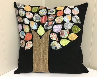 Cushion cover, quilted pillow cover, SALE, modern tree pillow, made in Canada