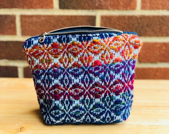Handwoven Handspun Notions Pouch or Cosmetics Bag