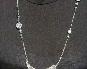 Necklace with metal feather