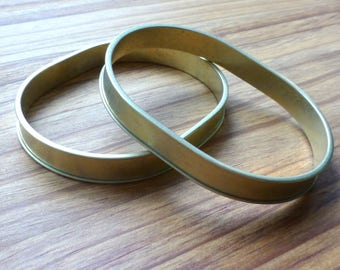 free shipping in UK - pack of 2 - bracelet, bangle, brass OVAL channel bracelet 67mm
