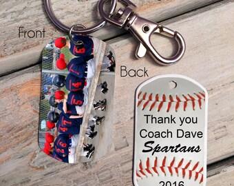 Gift for Baseball Coach - Custom photo key chain - photo dog tag - baseball key chain - Baseball Team gift - to baseball coach from team