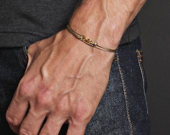 Men's Bracelet - Minimalist Taupe cord bracelet for men - Micro taupe rope bracelet for men - Bracelets for Men - Mens Jewelry - For him