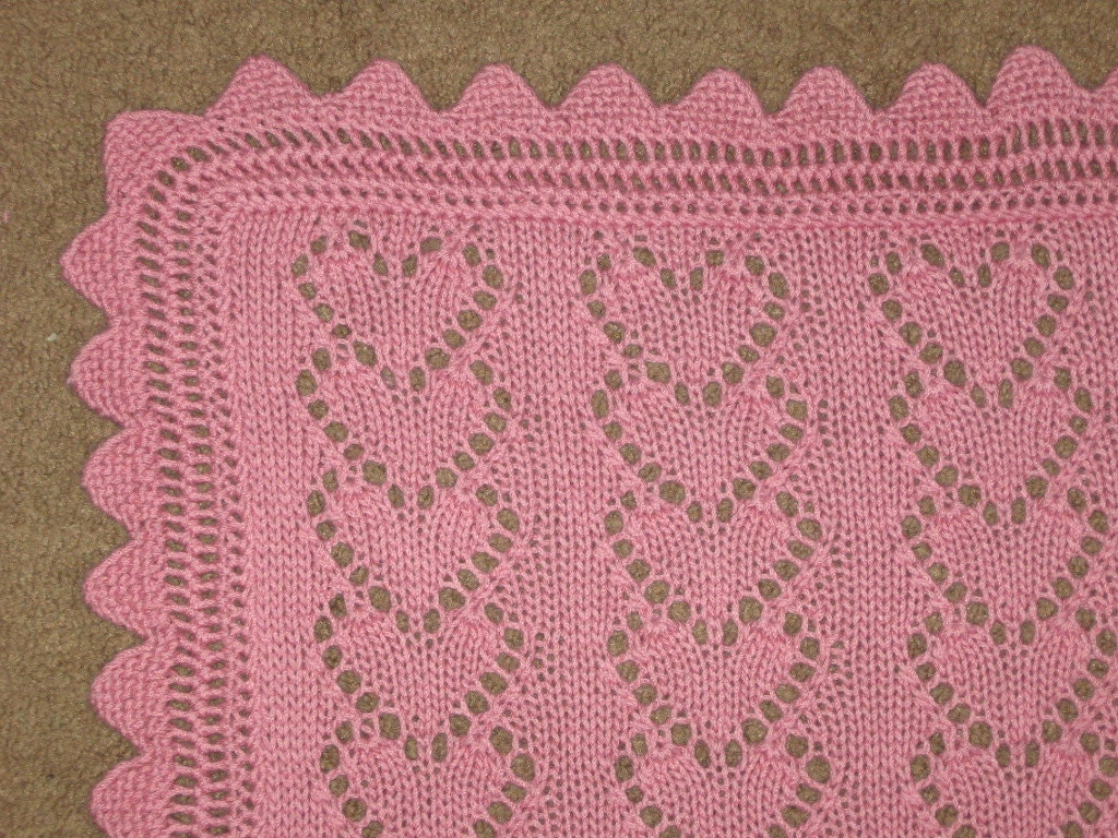 Lace Heart Chains Baby Blanket knitting pattern pdf digital