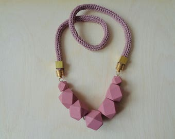 Hexagon  Necklace, Wood Beads Necklace, Hexagon Necklace,