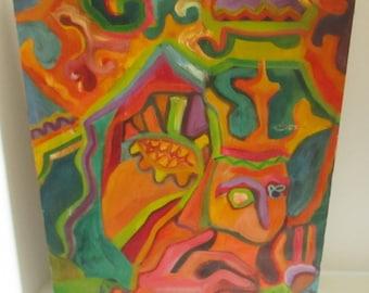 1966 Abstract Avant Garde Oil Painting Psychedelic Richard Kubinski Rysiek Groovy 1960s Modern Art MCM Psychadelic Figural
