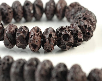 16x8mm Brown Volcanic Basaltic Lava Gemstone Rondelle 16x8mm Loose Beads 16 inch Full Strand (90186526-753)